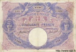 50 Francs BLEU ET ROSE FRANCE  1914 F.14.27 TB+ à TTB