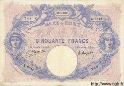 50 Francs BLEU ET ROSE FRANCE  1923 F.14.36 TB+