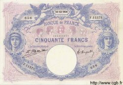 50 Francs BLEU ET ROSE FRANCE  1924 F.14.37 SUP