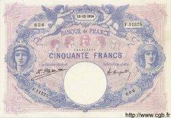 50 Francs BLEU ET ROSE FRANCE  1924 F.14.37 SUP