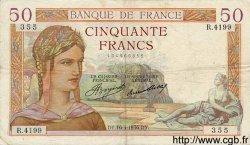 50 Francs CÉRÈS FRANCE  1936 F.17.24 TTB