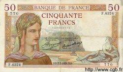 50 Francs CÉRÈS FRANCE  1936 F.17.25 TTB