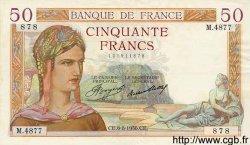 50 Francs CÉRÈS FRANCE  1936 F.17.29 TTB+