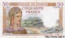 50 Francs CÉRÈS FRANCE  1937 F.17.35 TTB