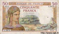50 Francs CÉRÈS FRANCE  1937 F.17.36 TB+