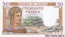 50 Francs CÉRÈS FRANCE  1937 F.17.36 SUP à SPL