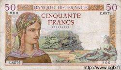 50 Francs CÉRÈS modifié FRANCE  1937 F.18.01 TB