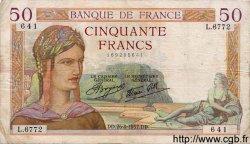 50 Francs CÉRÈS modifié FRANCE  1937 F.18.02 TB+