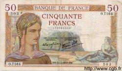 50 Francs CÉRÈS modifié FRANCE  1937 F.18.05 pr.TTB