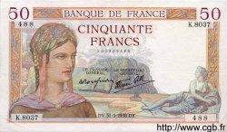 50 Francs CÉRÈS modifié FRANCE  1938 F.18.11 TTB