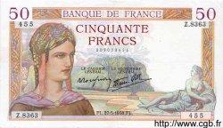 50 Francs CÉRÈS modifié FRANCE  1938 F.18.13 pr.SUP