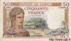 50 Francs CÉRÈS modifié FRANCE  1938 F.18.15 TTB+