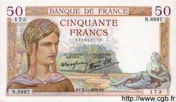 50 Francs CÉRÈS modifié FRANCE  1938 F.18.18 SUP+
