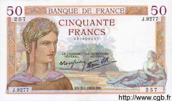 50 Francs CÉRÈS modifié FRANCE  1939 F.18.19 SPL+