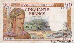 50 Francs CÉRÈS modifié FRANCE  1939 F.18.22 TB+