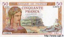 50 Francs CÉRÈS modifié FRANCE  1939 F.18.23 SUP à SPL
