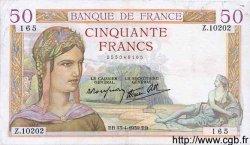 50 Francs CÉRÈS modifié FRANCE  1939 F.18.25 TB+