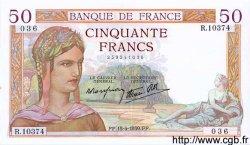50 Francs CÉRÈS modifié FRANCE  1939 F.18.26 SUP