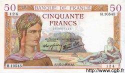 50 Francs CÉRÈS modifié FRANCE  1939 F.18.28 SUP