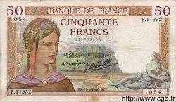 50 Francs CÉRÈS modifié FRANCE  1940 F.18.37 TB