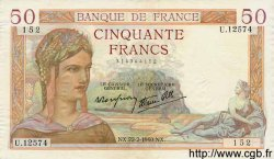 50 Francs CÉRÈS modifié FRANCE  1940 F.18.39 SUP