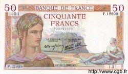 50 Francs CÉRÈS modifié FRANCE  1940 F.18.41 SUP