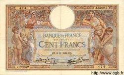 100 Francs LUC OLIVIER MERSON type modifié FRANCE  1938 F.25.34 TTB à SUP