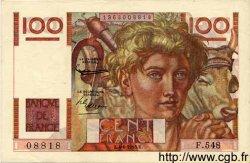 100 Francs JEUNE PAYSAN FRANCE  1953 F.28.37 SPL