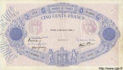 500 Francs BLEU ET ROSE modifié FRANCE  1938 F.31.19 TTB