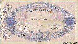 500 Francs BLEU ET ROSE modifié FRANCE  1939 F.31.42 TB+