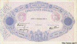 500 Francs BLEU ET ROSE modifié FRANCE  1939 F.31.45 pr.SUP