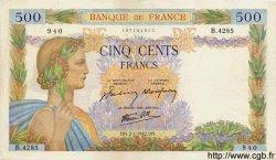 500 Francs LA PAIX FRANCE  1942 F.32.26 TTB+ à SUP