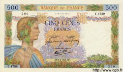 500 Francs LA PAIX FRANCE  1942 F.32.30 SUP+