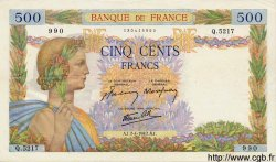 500 Francs LA PAIX FRANCE  1942 F.32.33 pr.SUP