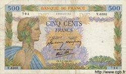 500 Francs LA PAIX FRANCE  1942 F.32.36 TB à TTB