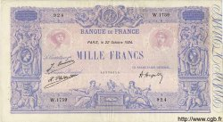 1000 Francs BLEU ET ROSE FRANCE  1924 F.36.41 pr.TTB