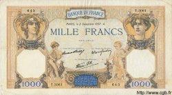 1000 Francs CÉRÈS ET MERCURE type modifié FRANCE  1937 F.38.05 TB+