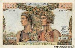 5000 Francs TERRE ET MER FRANCE  1952 F.48.06 pr.SUP