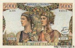 5000 Francs TERRE ET MER FRANCE  1952 F.48.07 pr.SPL