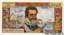 5000 Francs HENRI IV FRANCE  1957 F.49.01 pr.SPL