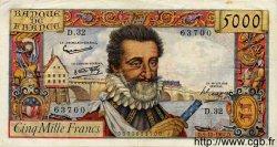 5000 Francs HENRI IV FRANCE  1957 F.49.04 TTB+ à SUP