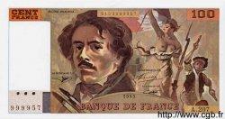 100 Francs DELACROIX imprimé en continu FRANCE  1993 F.69b.05 NEUF