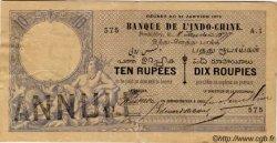 TEN RUPEES / DIX ROUPIES INDE FRANÇAISE  1877 P.A1 TTB