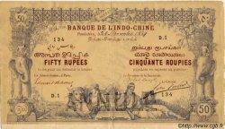 FIFTY RUPEES / CINQUANTE ROUPIES INDE FRANÇAISE  1884 P.A2s TTB+