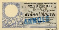 10 Rupees - 10 Roupies INDE FRANÇAISE  1919 P.002bs SUP+