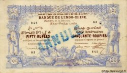FIFTY RUPEES / CINQUANTE ROUPIES INDE FRANÇAISE  1915 P.003bs pr.TTB