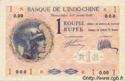 1 Roupie Walhain, 2ème type INDE FRANÇAISE  1928 P.004bs SPL+