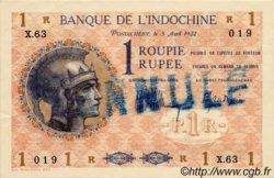 1 Roupie Walhain, 2ème type INDE FRANÇAISE  1932 P.004cs SPL