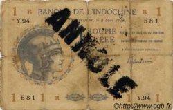 1 Roupie INDE FRANÇAISE  1938 P.004d B+