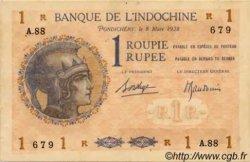 1 Roupie Walhain, 2ème type INDE FRANÇAISE  1938 P.004d TTB+